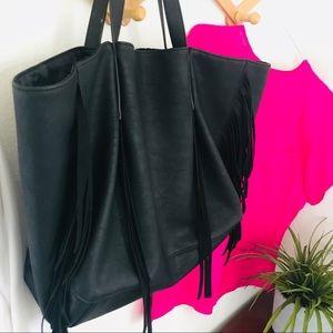 Boho Leather-Look Fringed Tote Bag